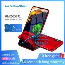 UMIDIGI F1 Android 9,0 6,3 «FHD 128 GB Встроенная память 4 Гб Оперативная память 5150 mAh 18 W быстрой зарядки смартфона nfc 4g открыл мобильный телефон 8-ядерный ячейки Смартфоны восемь основных Двойная камера