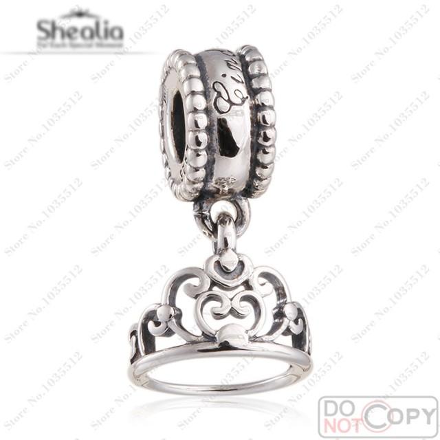 Cenicienta Tiara cuelgan Encanto Cupieron Las Pulseras Europeas Auténtico 925 Sterling Silver Vintage Cenicienta Crown Charm Joyería 2016