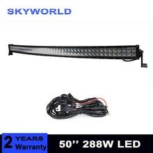 50 polegada 288 W Curvo LED Light Bar Off road Veículo Carro ATV Trator Offroad 9-32 V de Combinação barra de luz 4×4 4WD