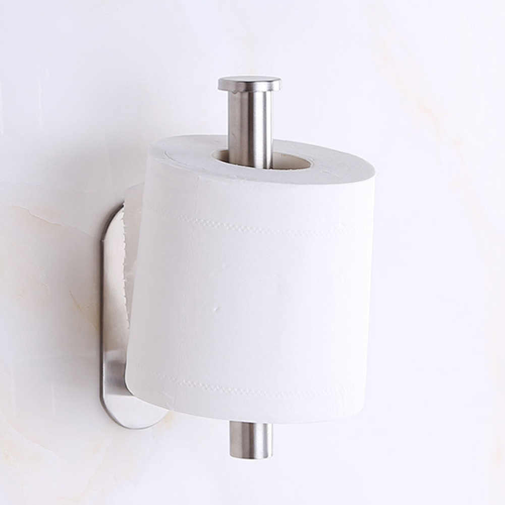 Stainless Steel Toilet Roll Self Adhesive Bathroom Paper Stick On Wall Storage Holder