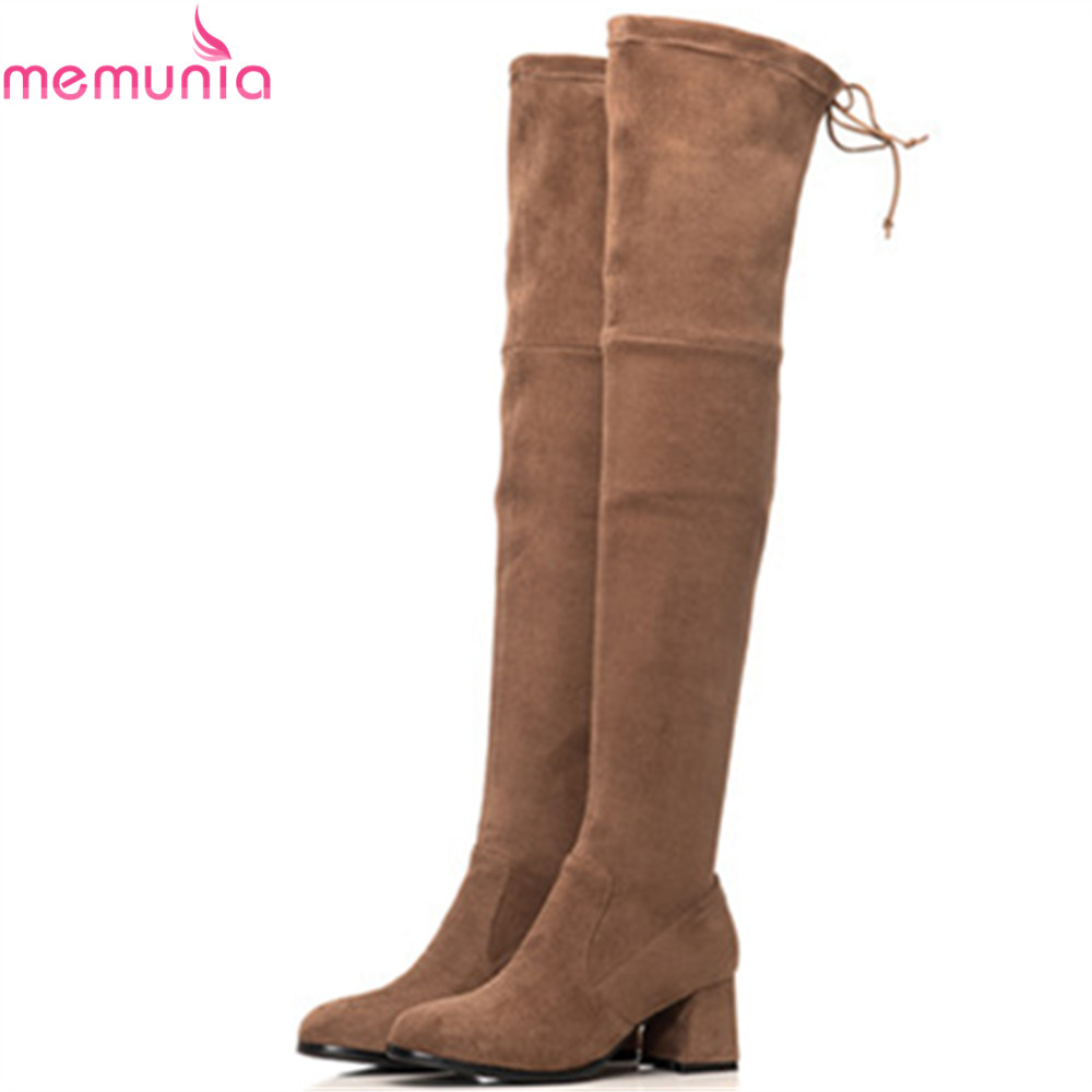 MEMUNIA black Camel fashion autumn women boots square toe ladies boots flock square heel cross tied sexy over the knee boots camel camel boots cowhide thick heel rivet velvet fashion pointed toe boots vintage casual thermal boots