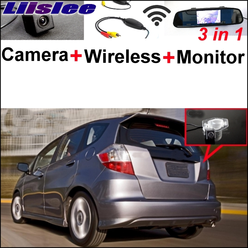Liislee 3 in1 Mirror Monitor Esay Back Up Parking System + Special Rear View Camera + Wireless Receiver For Honda Fit 2002~2017 3 in1 special rear view camera wireless receiver mirror monitor back up parking system for citroen ds3 ds 3 2009 2015