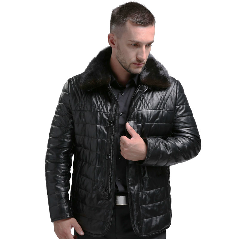 AIBIANOCEL Brand Genuine Leather Coat Men Winter Warm Real Leather White Duck Down Coat Mink Fur Collar Leather Jacket Thicke