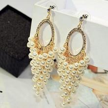 Charmcci Luxury Simulated Pearl Earrings Long Tassel Earrings For Women Wedding Jewelry Party Bijoux Fine Gift