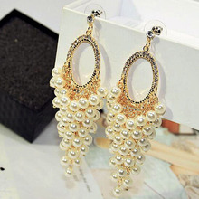 Charmcci Luxury Simulated Pearl Earrings Long Tassel For Women Wedding Jewelry Party Bijoux Fine Gift