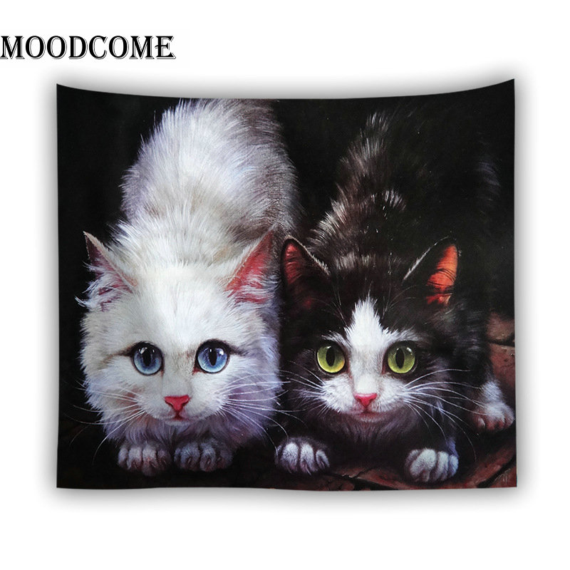 black and white cat wall hanging blanket tapisserie murale beach decor drop shipping custom tapestry image