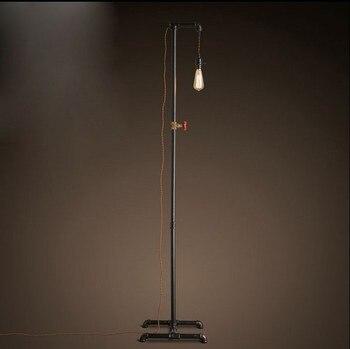 Lâmpadas de Assoalho da tubulação de água industrial de loft Americano rural retro criativo sala lâmpada chão luzes de pesca ZA GY337