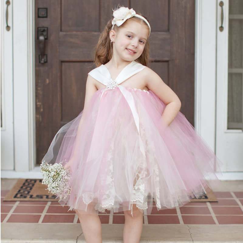 2017 Top quality Princess Flower Girl Dresses Pink Bud Silk 2-12Year Cute Draped Ball Gown Evening Dress Children party high quality girls baby hollow out bud silk condole belt dress princess party dresses children s clothing wholesale
