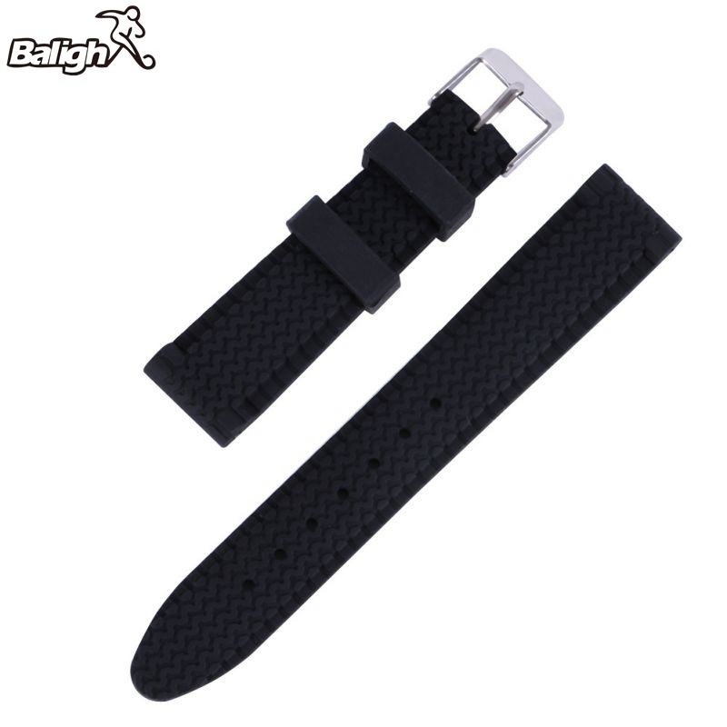 Men Casual Watch Band Soft Silicone Rubber Waterproof Wrist Watch Band Strap 18-24mm Black цена