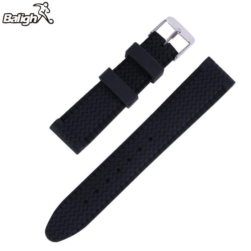 Banda de reloj casual para hombres Correa de reloj de pulsera impermeable de goma de silicona suave 18-24mm negro