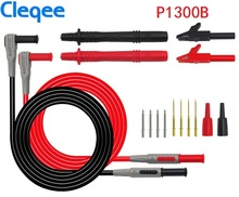 Cleqee P1300B P1300C 12-in-1 Super Multimeter Probe Replaceable Probe Clamp Multi Meter Test Lead kits + Alligator Clips battery test lead alligator clips 1 pair fully insulated red black crocodile clips banana plug electrical alligator clamp