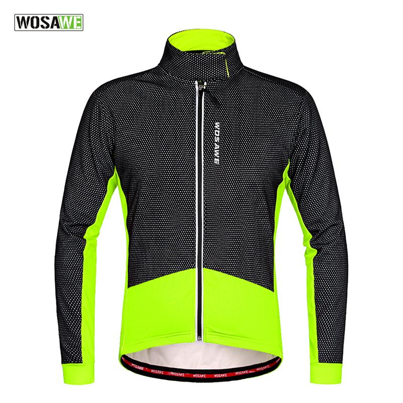 WOSAWE Thermal Cycling Jacket Winter Warm Bicycle Clothing Windproof Soft shell Coat MTB Reflective Cycling Jackets