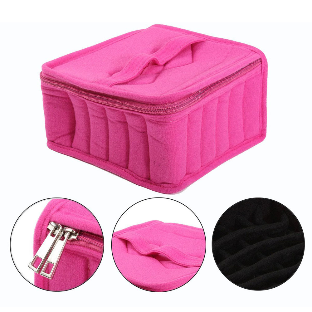 Portable 16 Makeup Tools Bag Carrying Holder Case Travel Makeup Tool Nail Polish Organizer Storage Box Container Toiletry Kits water resistant drop protection storage container organizer box for chips batteries gadgets