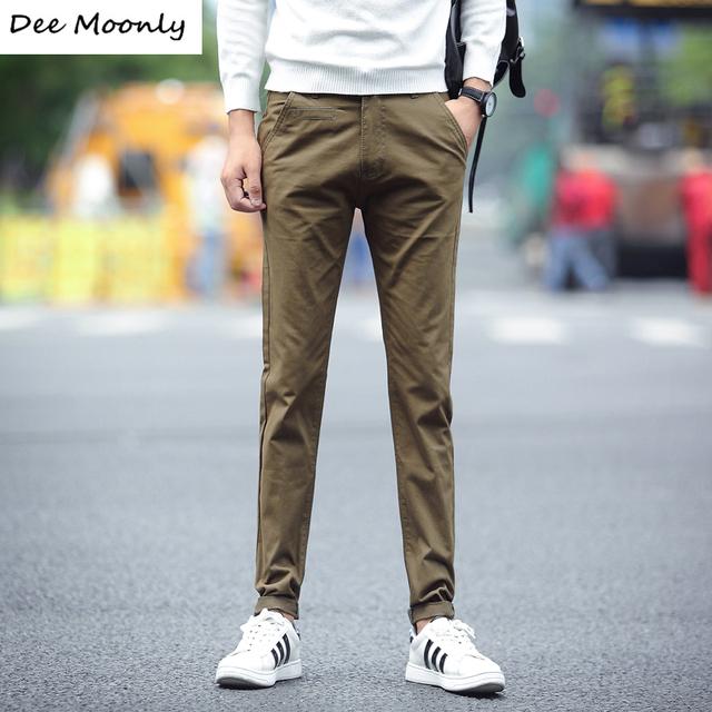 DEE MOONLY 2017 Novo do Homem da Moda Xadrez Calças Sólidos Calças Casuais Reta Calças de Corpo Inteiro Longo Vestido, asiático Tamanho 28-38