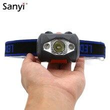 Mini lampe frontale imperméable avec 4 Modes déclairage dextérieur, lumière Flash, lampe torche, idéal pour la chasse, avec batterie AAA, 3 LED 800 Lumens