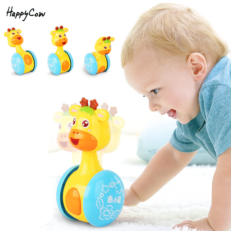 Baby Rattles Deer Tumbler Doll Toys Hand Bell Music Learning Education Toy for 0-12 Months Baby Newborn Toddlers Gifts