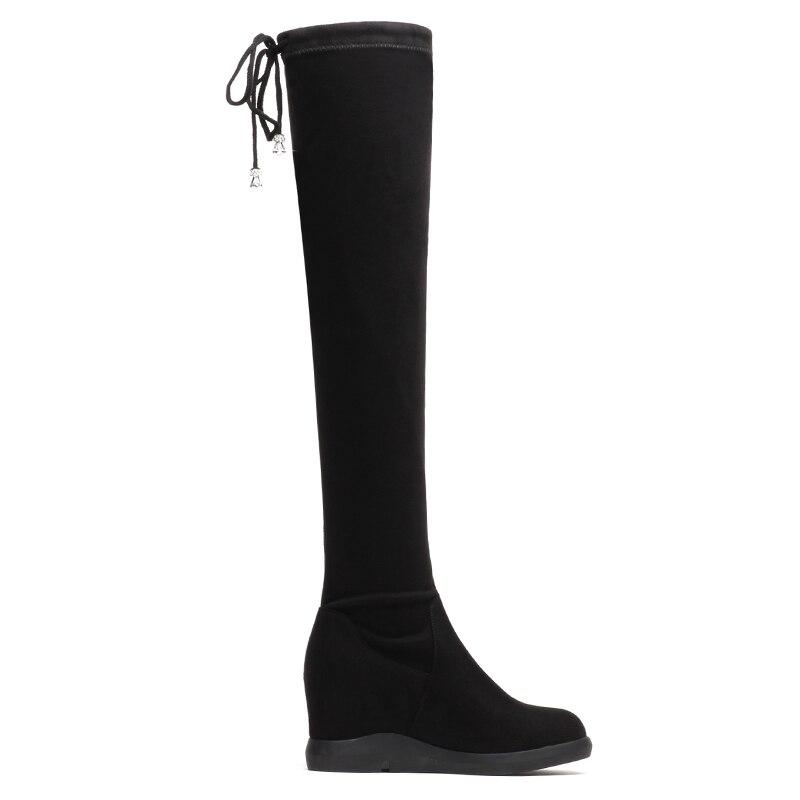 Cuissardes Chaussures Yg Chaud Hiver Moto Bottes Noir Femmes Pour Microfiher Talon Élasticité Faible Sur Genou a0031 F7wOAA