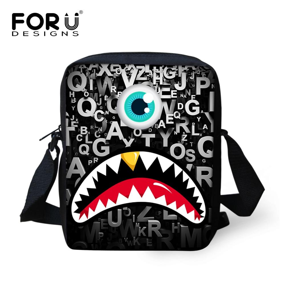 Casual 3D Letters Monster Print Messenger Bags Boys Cute Children Cross-body Shoulder Travel Bags Men Women Small Bolsa Feminina