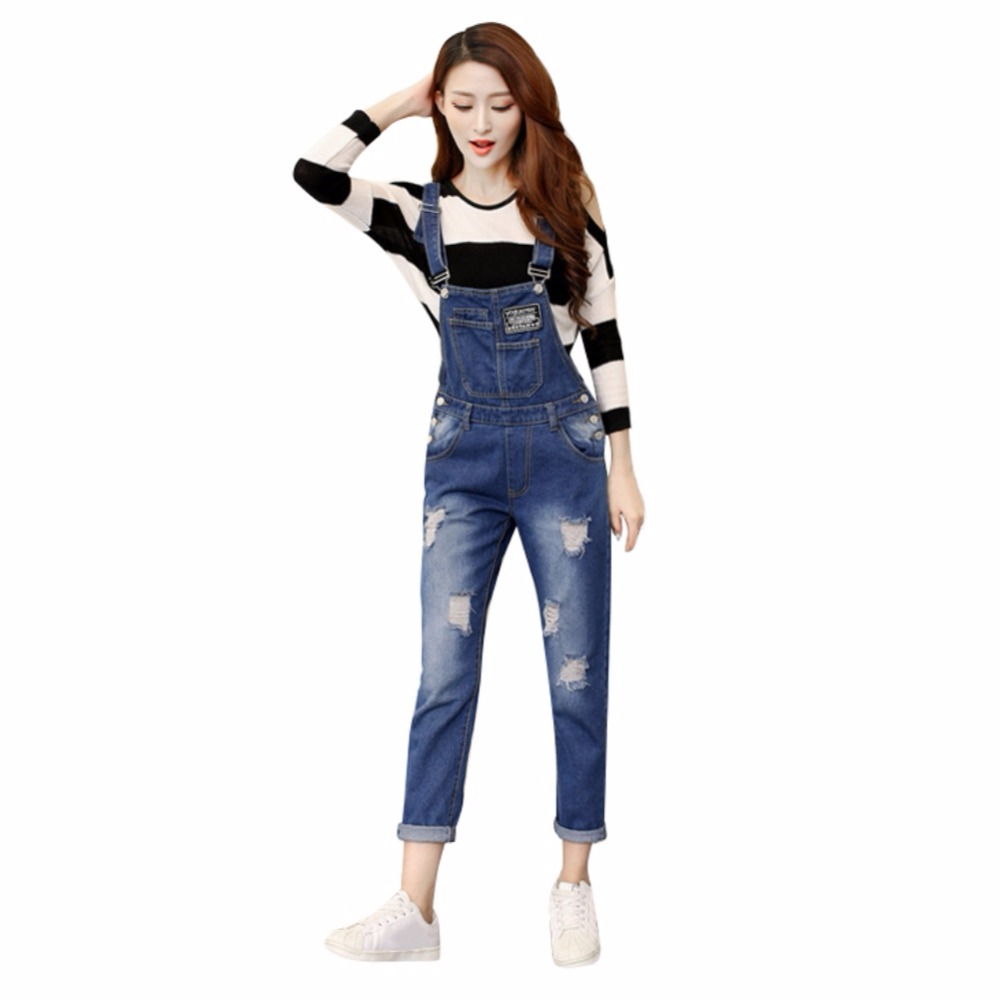 spring Autumn loose nine points women denim pants casual high waist denim overalls Kawaii blue color S-XL