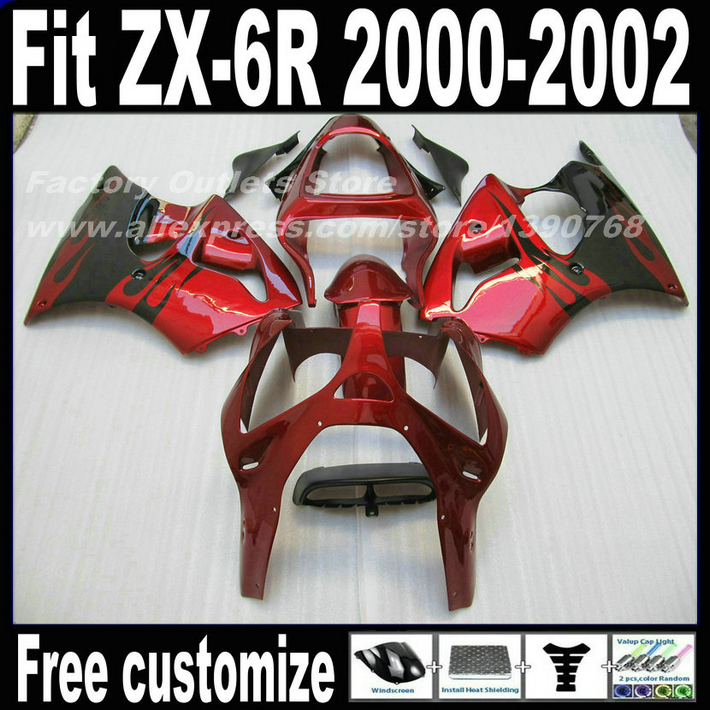 Motorcycle Fairings set for Kawasaki ZX6R 2000 2001 2002 Ninja 636 fairing kits ZX-6R 00 01 02 black red bodywork PY17 утюг irit ir 2211
