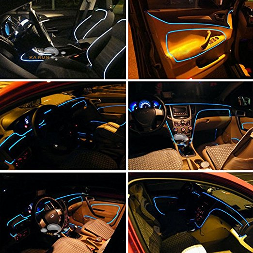 5 in 1 12V RGB LED Car Atmosphere Light Car Interior Cool Light Multicolor EL Neon Strip Lamp Bluetooth Phone/Remote Control
