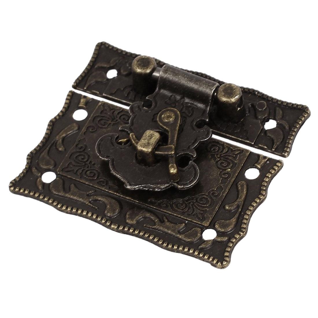 Wood Case Chest Box Rectangle Clasp Closure Hasp Latches Bronze Tone