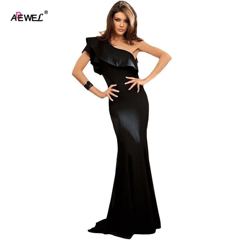 3c9f0f888 ADEWEL Elegant One Shoulder Ruffles Sleeve Party Dress Women Mermaid Long  Dress Formal Wear Maxi Dress -in Dresses from Women s Clothing on  Aliexpress.com ...