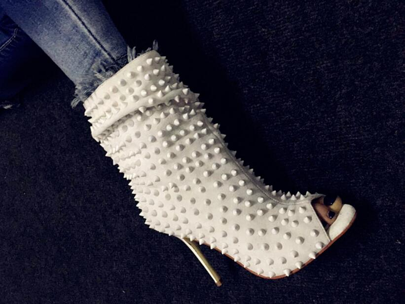 Kaeve Whites For Woman High Heels Dress Spiked Shoe Mid-calf Boot Peep Toe Ankle Booties Stage Rivet Women's Gothic Shoes Sandal dc men s council mid tx skate shoe