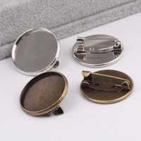 Onwear 50 pcs cabochon broche réglage ébauches fit 20mm métal rond broche broche lunette plateaux bricolage base pour la fabrication de broches