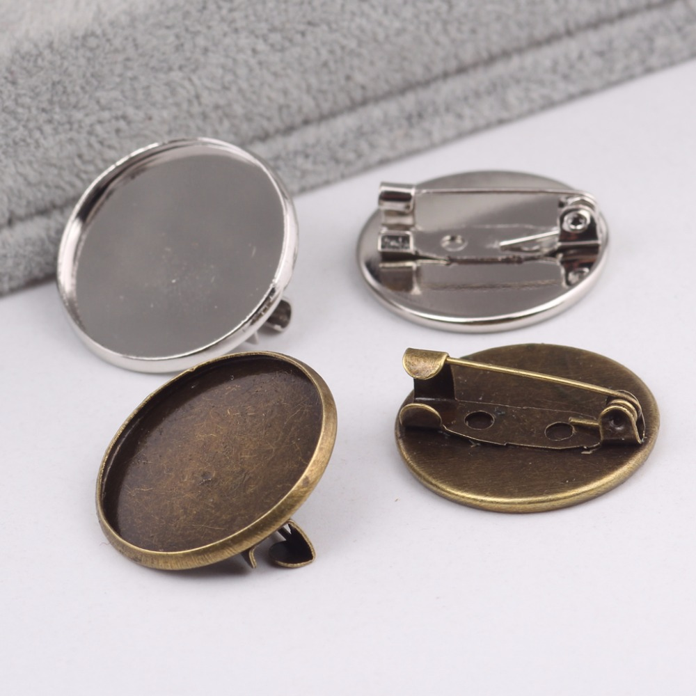 Onwear 50pcs Cabochon Brooch Setting Blanks Fit 20mm Metal Round Brooch Pin Bezel Trays Diy Base For Broches Making