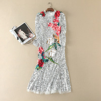 Europe and the United States women's clothing The new summer 2017 7 minutes of sleeve sequins Three dimensional flower dress