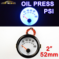 "2"" 52mm Car Guage Oil Press Meter Blue Light 0~100 PSI Auto Pressure with Sensor Black Shell 12V"