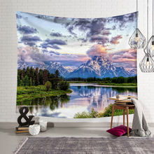 Snow Mountain Forest wall hanging tapestry nature landscape Printed Macrame Tapestry Living Room Decor Shawl blanket Yoga Mat цена 2017