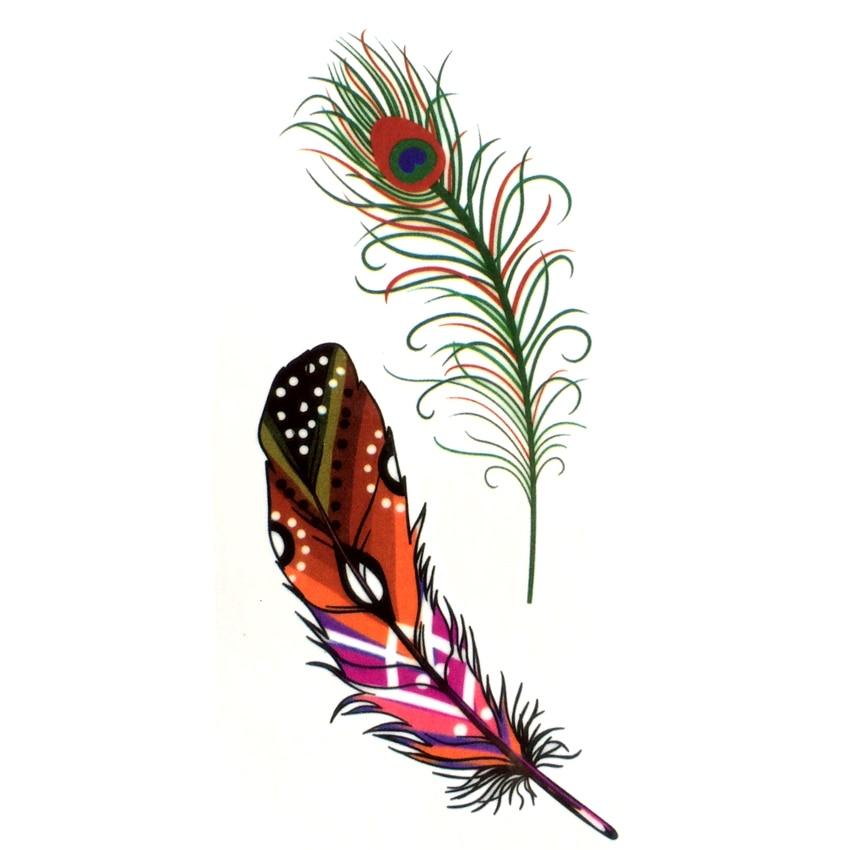 Peacock Feather Waterproof Temporary Tattoos Men Fake Arm