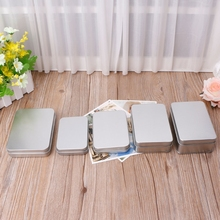 NEW Delicate Small Metal Tin Silver Storage Box Case Organiz