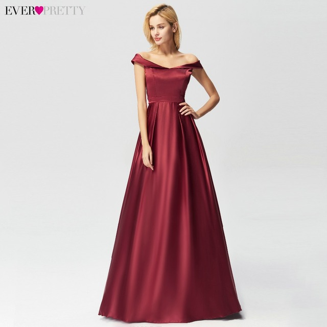 2019 Burgundy Prom Dresses Ever Pretty EZ07742 Sexy Off Shoulder A line Party Gowns Elegant Satin