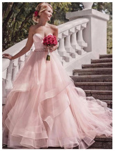Romantic Pink Wedding Dress With Lace Appliques Tiered Ruffles Sweetheart Long Bridal Gown vestido madrinha
