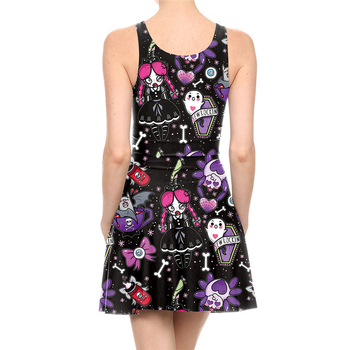 Cartoon Skull Printed Dress 1