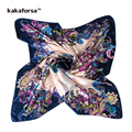 Kakaforsa Women 90*90cm Satin Silk Square Scarf Fashion Brand Print Scarves Shawl High Quality Multicolor Hijab Foulard