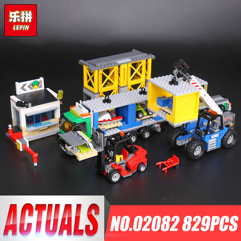 Lepin 02082 Genuine 829Pcs City Series The Cargo Terminal Set 60169 Building Blocks Bricks Children Educational Toys Gift Model lepin 02012 774pcs city series deepwater exploration vessel children educational building blocks bricks toys model gift 60095