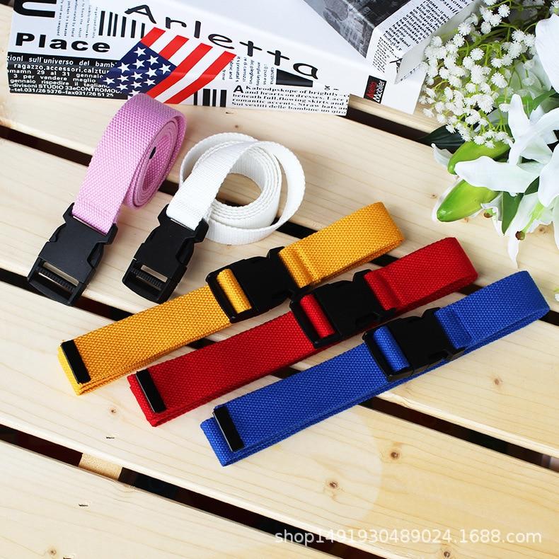 Unisex Plain Webbing Waistband Casual Canvas   Belt   Metal Buckle Men Women Boys Jeans   Belts   Candy Colors Top Quality 120cm