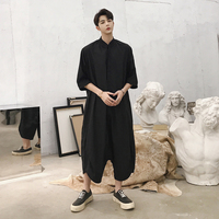Jumpsuit Male Loose A Piece Harem Pants Overalls Tooling Jumpsuit Hiphop Fashion Trousers Men Short Sleeve Thin Casual Shirt