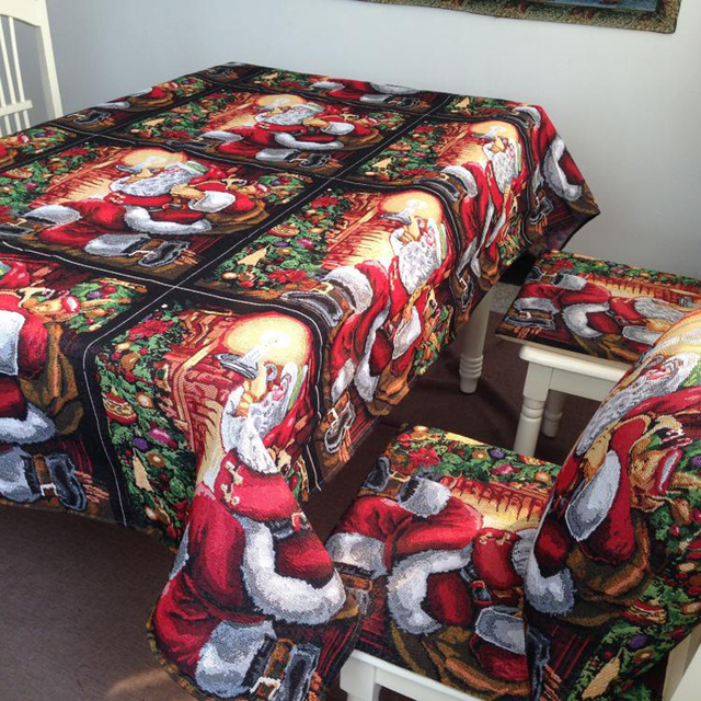 Classic European Christmas Table Cloth Set Polyester And Cotton Table Cloth Chair Cushion And Back Cushion & Classic European Christmas Table Cloth Set Polyester And Cotton ...