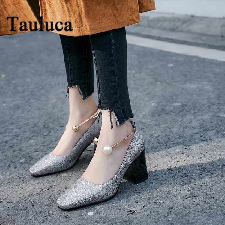 Women's Square Toe Sequins Thick Heel Pumps Shallow Mouth Single Shoes Ankle Strap With Pearl Metal High Heels Large Size 41 48