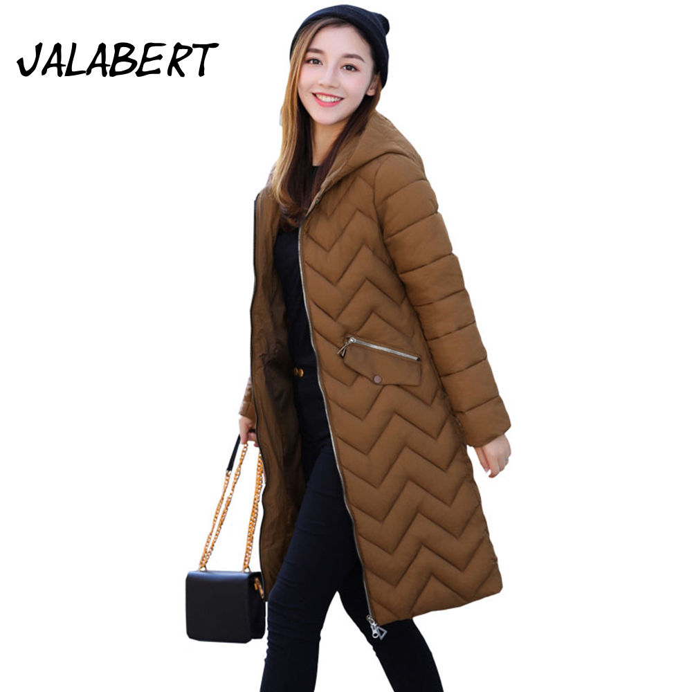 2017 winter new women long Hooded Thicker cotton jacket Female Slim pocket zipper overdress Parkas Solid coat 2017 new winter coat for women slim black solid hooded long warm cotton parkas female thicker zipper red jacket padded