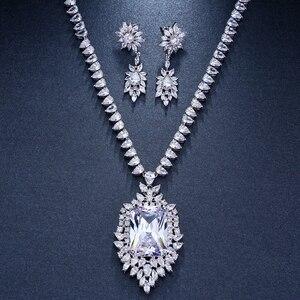 Image 5 - Emmaya cyrkonie jakość aaa cyrkonia Big Rectangul Royal Blue Bridal wieczór weselny kolczyk naszyjnik komplet biżuterii damskiej