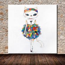 Ручная роспись Абстрактная палитра нож мода кошка животное картина маслом на холсте Современные настенные картины для гостиной домашний декор