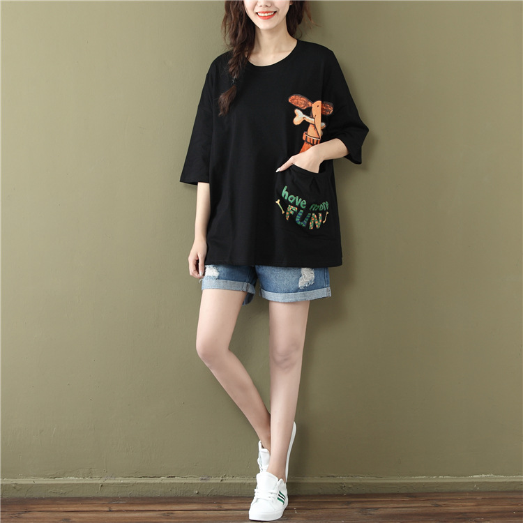 3e04fe60e2 2017 Summer New Arrival Short Sleeved Women T Shirt Plus Size Loose Korean  O Neck Cartoon Print Pocket White And Black Tee Tops-in T-Shirts from  Women's ...