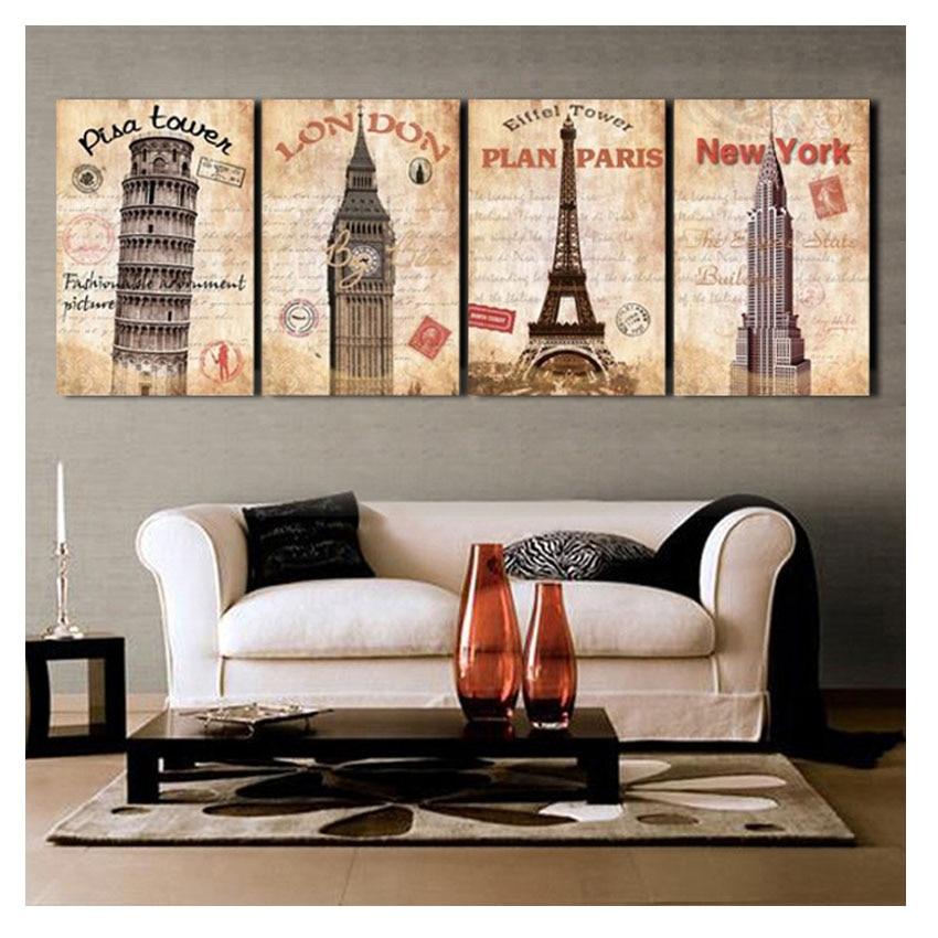 4 Pieces Modern London New York Printings Quadros De Parede Sala ...