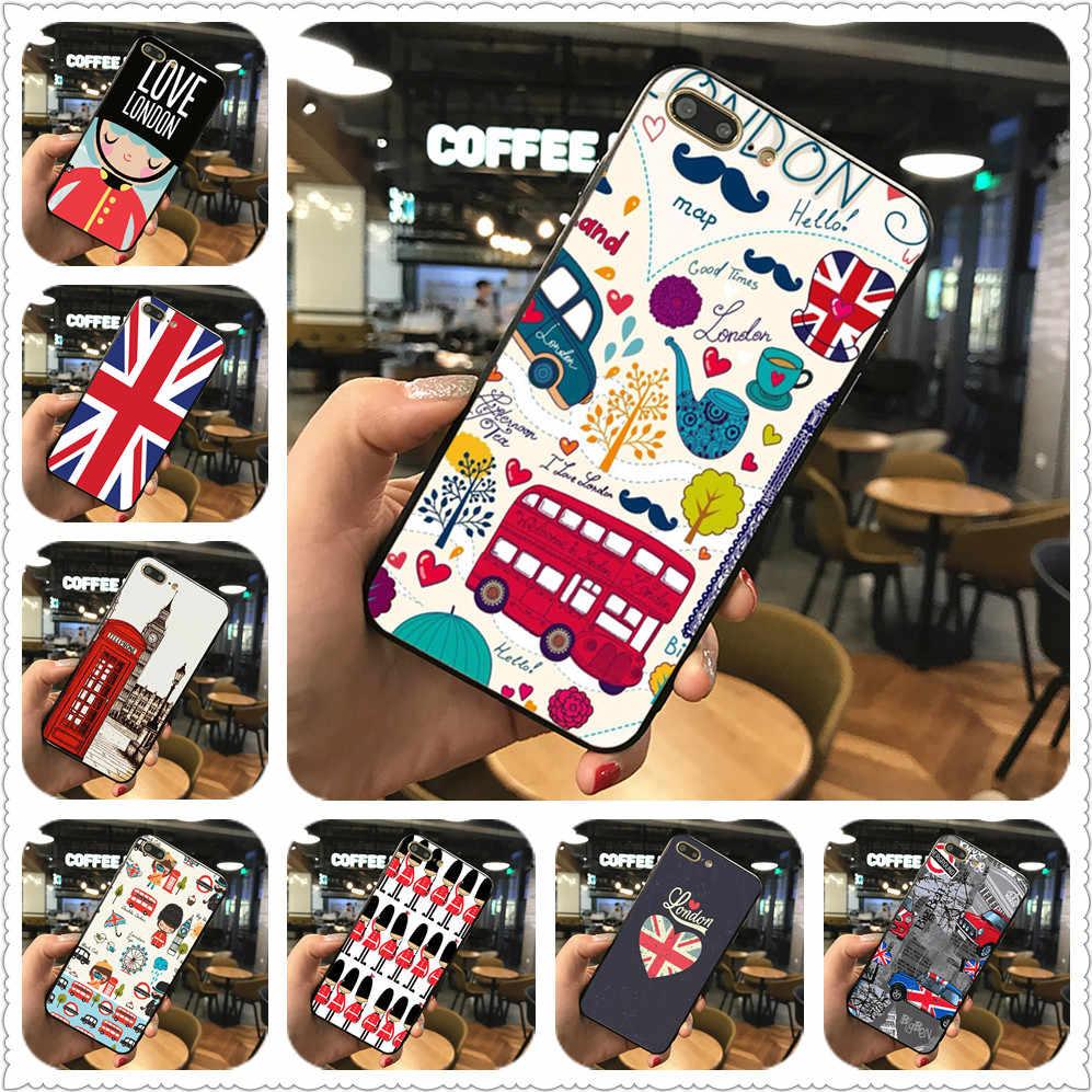 Personalidade da moda de Londres Impressão Caso de telefone Alívio Para iphone 7 XS XR Preto capa de silicone Para Samsung s8 s9 Tampa Do Caso